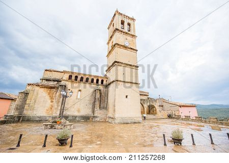 Old church in Aguero village located in the province of Huesca in Spain