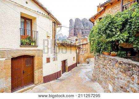 Street view in Aguero village located in the province of Huesca in Spain
