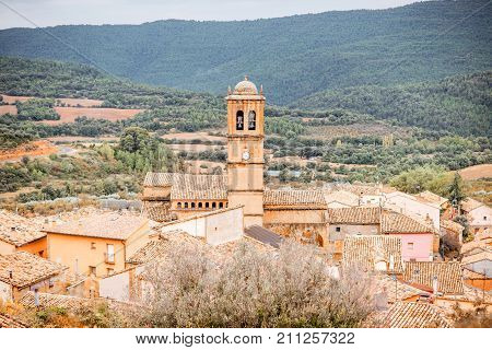 Landscape view on Aguero village with church tower located in the province of Huesca in Spain