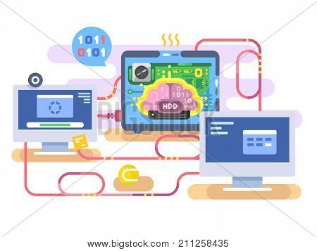 Brain hard disk flat for storage and transfer data. Technology electronic hardware HDD, computer memory, vector illustration