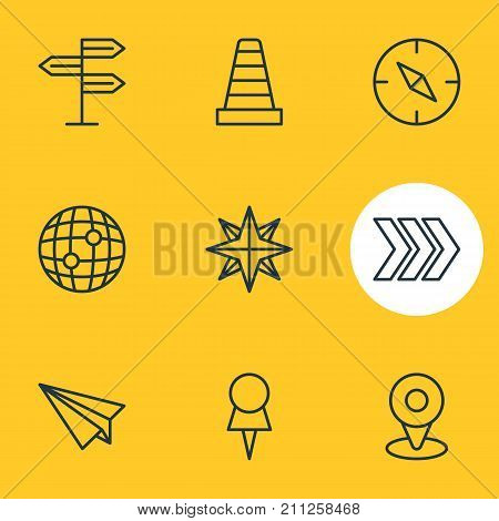 Editable Pack Of Compass, Guidepost, Location And Other Elements.  Vector Illustration Of 9 Navigation Icons.