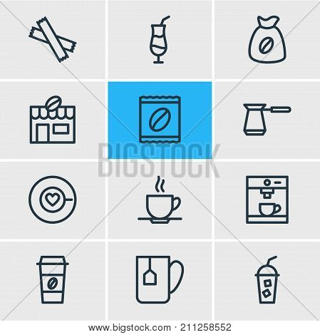 Editable Pack Of Sweetener, Soft Beverage, Mocha And Other Elements.  Vector Illustration Of 12 Java Icons.