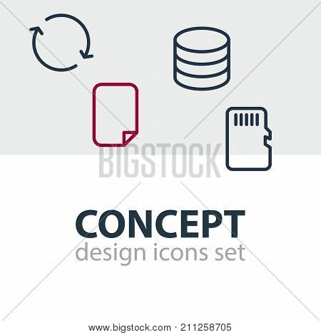 Editable Pack Of Synchronize, File, Memory And Other Elements.  Vector Illustration Of 4 Memory Icons.