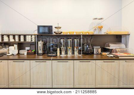 Breakfast buffet in the modern hotel (motel) or hostel during a self service .