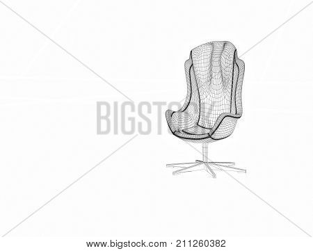 Big chair. Leather armchair large dimensions. Office furniture for big boss. Desk chair. Illustration in the form of a grid.