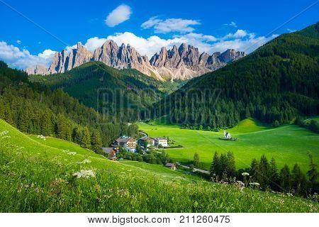 Val di Funes valley, Santa Maddalena touristic village, Dolomites, Italy, Europe