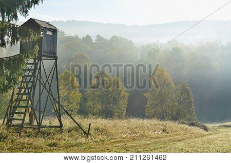 wildlife observation point. South Bohemia czech republic