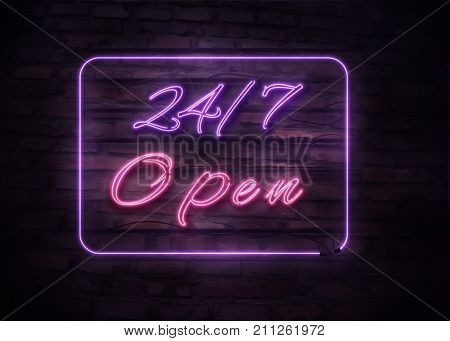 Neon Open 24 7 Sign On Brick Wall Background.