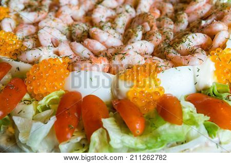 Swedish Sandwich Cake With Shrimp And Kaviar
