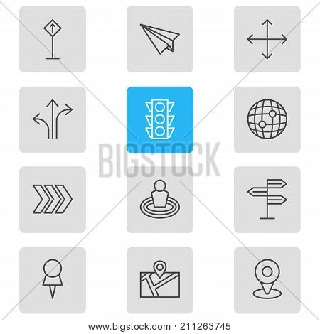Editable Pack Of Direction, Navigation, Origami And Other Elements.  Vector Illustration Of 12 Direction Icons.