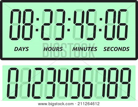 Green count down digital display with days, hours, minutes and seconds isolated on white background. Time and coming soon concept. Flat design. Vector illustration. EPS 8, no transparency