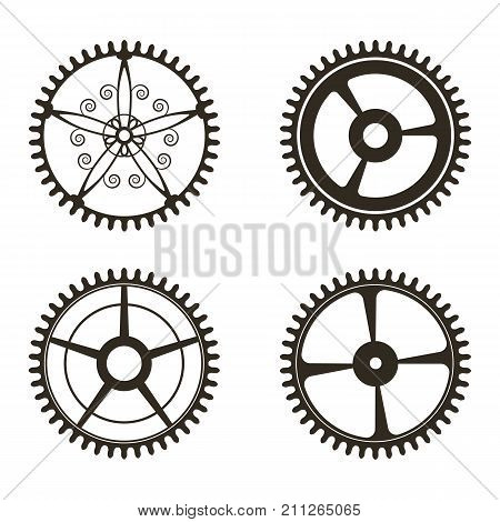 Set Of Gears On   White Background