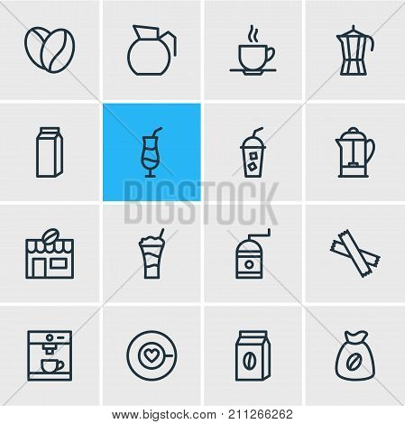 Editable Pack Of Soft Beverage, Coffeemaker, Mocha And Other Elements.  Vector Illustration Of 16 Java Icons.