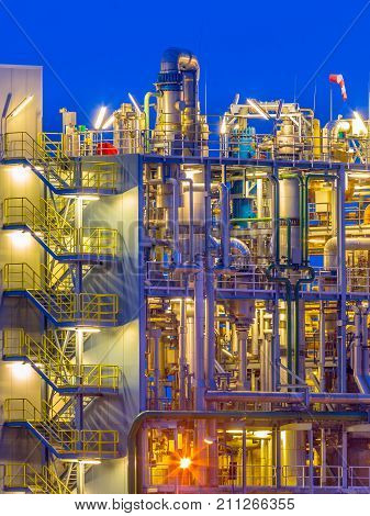 Detail Of A Chemical Plant Vertical