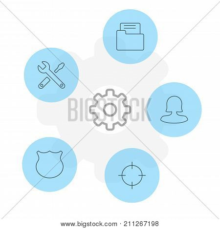 Editable Pack Of Guard, Female User, Maintenance And Other Elements.  Vector Illustration Of 5 Interface Icons.