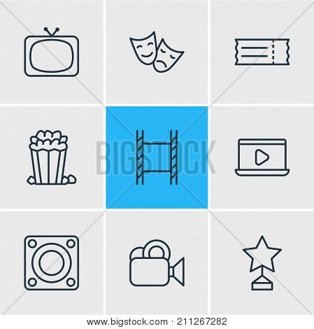 Editable Pack Of Coupon, Tragedy, Loudspeaker And Other Elements.  Vector Illustration Of 9 Cinema Icons.