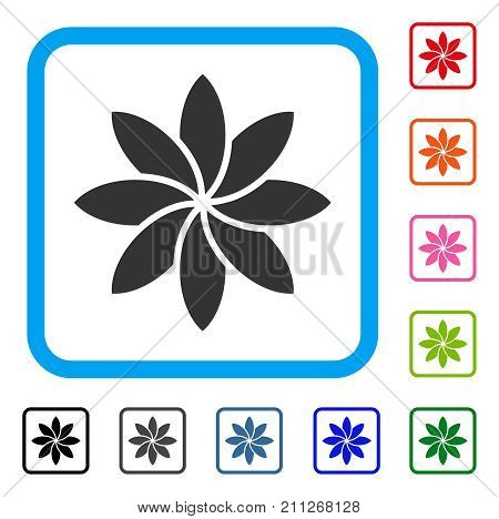 Abstract Flower icon. Flat grey pictogram symbol inside a blue rounded square. Black, gray, green, blue, red, orange color variants of Abstract Flower vector. Designed for web and software interfaces.