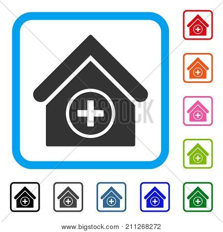 Add Building icon. Flat grey pictogram symbol inside a blue rounded rectangle. Black, gray, green, blue, red, orange color additional versions of Add Building vector.