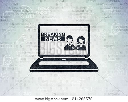 News concept: Painted black Breaking News On Laptop icon on Digital Data Paper background with Scheme Of Hand Drawn News Icons