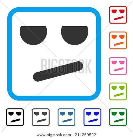 Bored Smile icon. Flat grey pictogram symbol inside a blue rounded square. Black, gray, green, blue, red, orange color versions of Bored Smile vector. Designed for web and application UI.