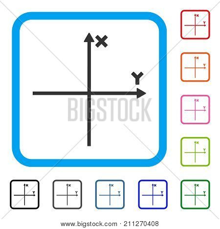 Cartesian Axes icon. Flat gray pictogram symbol in a blue rounded frame. Black, gray, green, blue, red, orange color versions of Cartesian Axes vector. Designed for web and application UI.