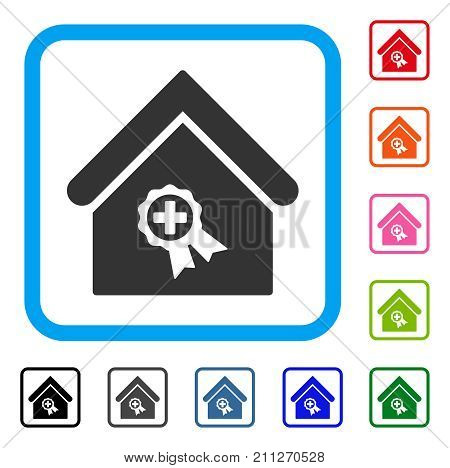 Certified Clinic Building icon. Flat grey iconic symbol inside a blue rounded frame. Black, gray, green, blue, red, orange color versions of Certified Clinic Building vector.