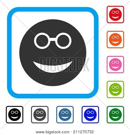 Clever Smiley icon. Flat grey pictogram symbol inside a blue rounded squared frame. Black, gray, green, blue, red, orange color versions of Clever Smiley vector. Designed for web and app interfaces.