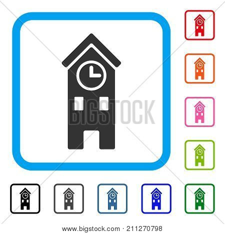 Clock Tower icon. Flat grey iconic symbol in a blue rounded square. Black, gray, green, blue, red, orange color versions of Clock Tower vector. Designed for web and app interfaces.