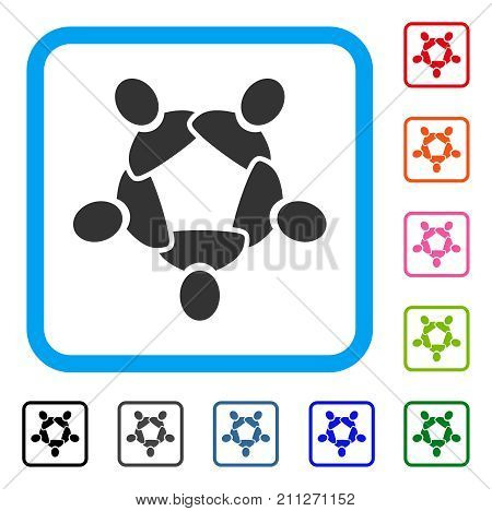 Collaboration icon. Flat gray pictogram symbol in a blue rounded rectangular frame. Black, gray, green, blue, red, orange color versions of Collaboration vector.