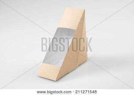Brown Blank Cardboard Triangle Take Away Boxes Packaging For Sandwich, Food, Gift, Other Products Wi