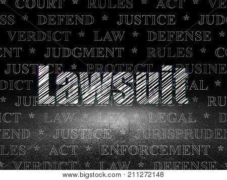 Law concept: Glowing text Lawsuit in grunge dark room with Dirty Floor, black background with  Tag Cloud