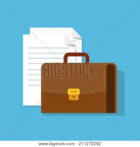Suitcase and paper documents. Leather briefcase. Illustration in a flat style with a shadow isolated on a blue background