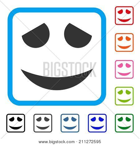 Embarassed Smile icon. Flat gray iconic symbol in a blue rounded square. Black, gray, green, blue, red, orange color additional versions of Embarassed Smile vector.