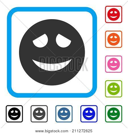 Embarrased Smiley icon. Flat grey pictogram symbol inside a blue rounded rectangular frame. Black, gray, green, blue, red, orange color versions of Embarrased Smiley vector.