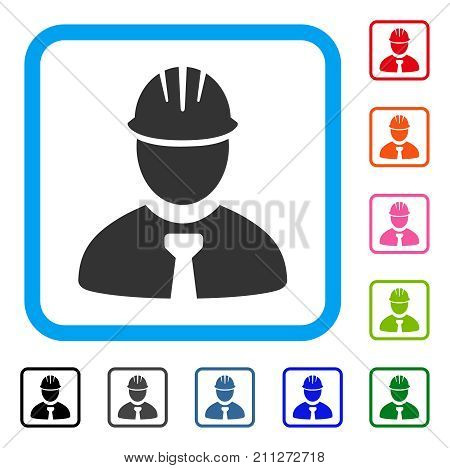Engineer icon. Flat grey pictogram symbol in a blue rounded squared frame. Black, gray, green, blue, red, orange color versions of Engineer vector. Designed for web and software interfaces.
