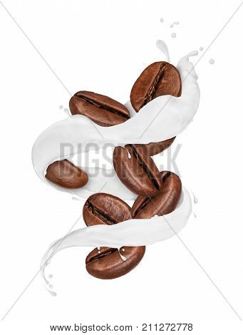 Coffee beans moves in a swirling splashes of milk isolated on white background
