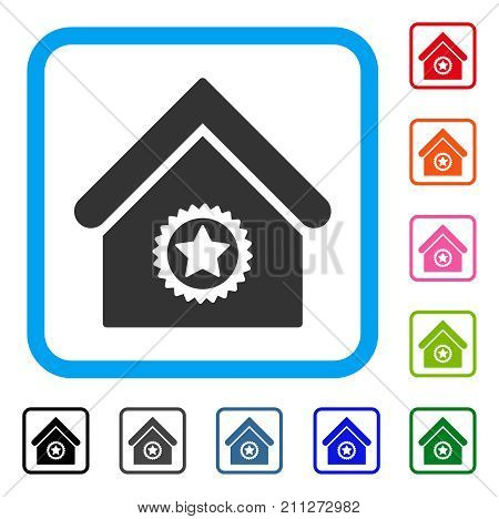 Excellent Building icon. Flat gray iconic symbol inside a blue rounded rectangle. Black, gray, green, blue, red, orange color versions of Excellent Building vector.
