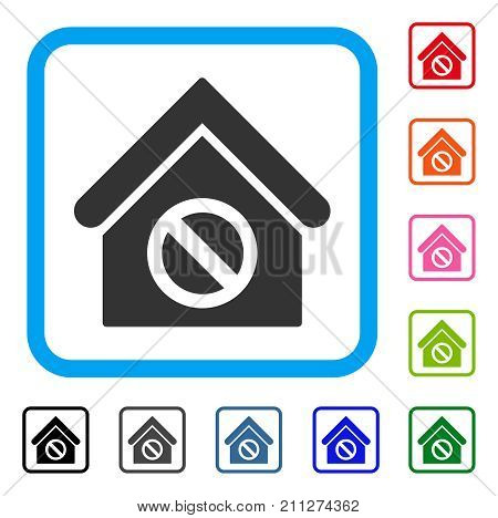 Forbidden Building icon. Flat grey iconic symbol inside a blue rounded frame. Black, gray, green, blue, red, orange color variants of Forbidden Building vector.