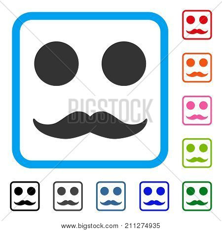 Gentleman Mustaches Smile icon. Flat gray pictogram symbol inside a blue rounded frame. Black, gray, green, blue, red, orange color variants of Gentleman Mustaches Smile vector.