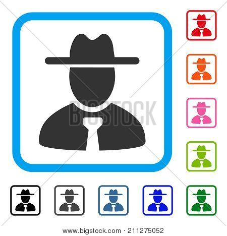 Gentleman icon. Flat gray pictogram symbol in a blue rounded rectangular frame. Black, gray, green, blue, red, orange color versions of Gentleman vector. Designed for web and software user interface.