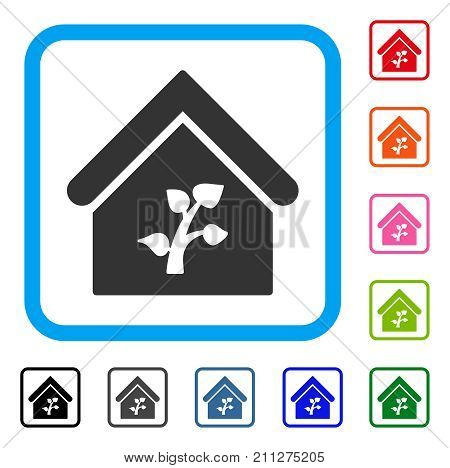 Greenhouse Building icon. Flat gray iconic symbol inside a blue rounded frame. Black, gray, green, blue, red, orange color versions of Greenhouse Building vector.
