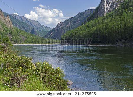 The Oka Sayanskaya River At The Beginning Of The Orkho-bom Gorge.