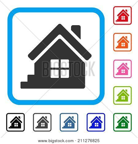 House Porch icon. Flat grey iconic symbol inside a blue rounded square. Black, gray, green, blue, red, orange color additional versions of House Porch vector.