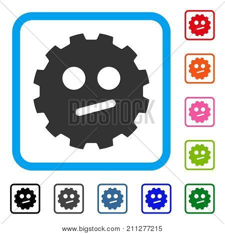 Indifferent Smiley Gear icon. Flat gray iconic symbol in a blue rounded frame. Black, gray, green, blue, red, orange color versions of Indifferent Smiley Gear vector.