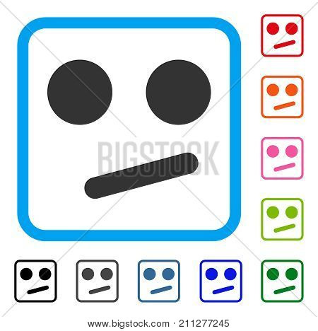 Indifferent Smiley Smile icon. Flat gray pictogram symbol inside a blue rounded rectangular frame. Black, gray, green, blue, red, orange color variants of Indifferent Smiley Smile vector.