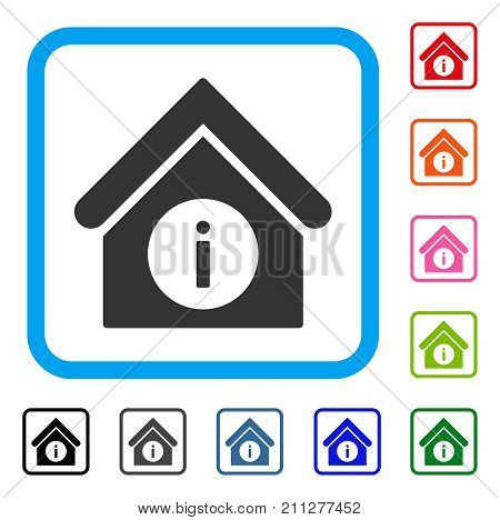 Info Building icon. Flat gray pictogram symbol in a blue rounded frame. Black, gray, green, blue, red, orange color variants of Info Building vector. Designed for web and app UI.