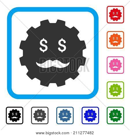 Investor Smiley Gear icon. Flat gray iconic symbol inside a blue rounded frame. Black, gray, green, blue, red, orange color variants of Investor Smiley Gear vector.