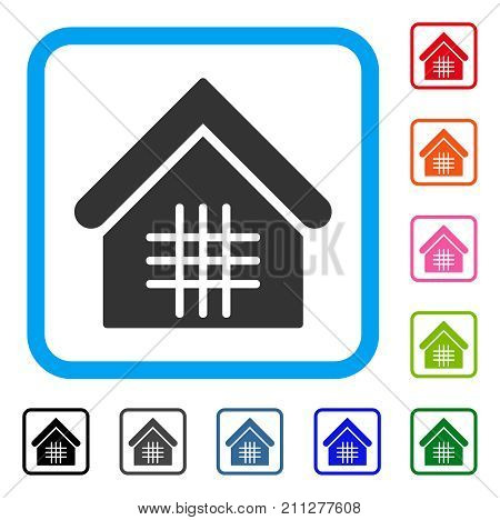 Jail icon. Flat grey pictogram symbol inside a blue rounded rectangular frame. Black, gray, green, blue, red, orange color additional versions of Jail vector. Designed for web and application UI.