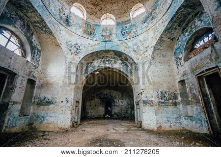 Abandoned church interior. Ruined abandoned Church of the Intercession of the Blessed Virgin Mary in Lipovka, Voronezh region