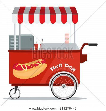 Hot dog street cart with awning. Flat and solid color vector Illustration